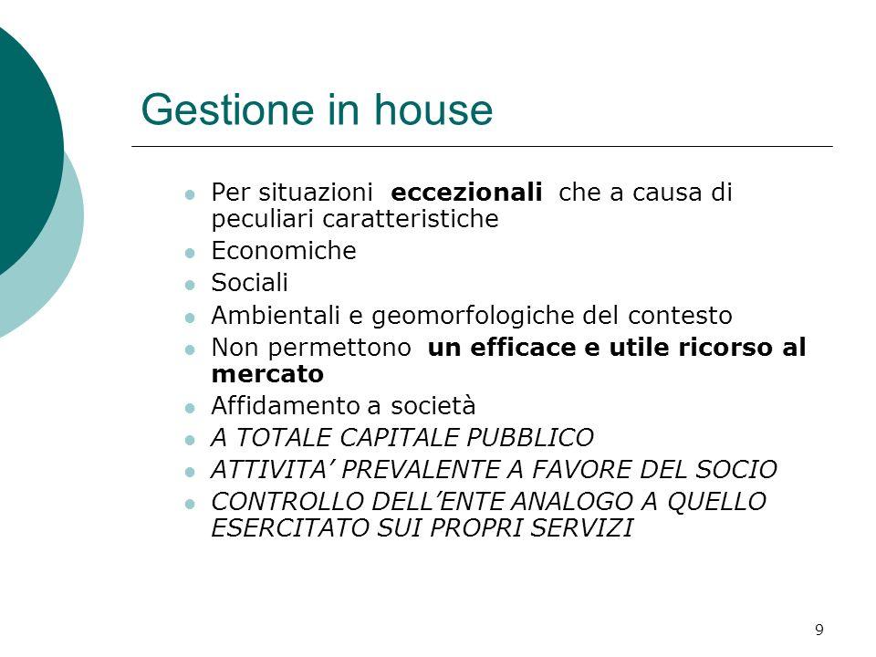Gestione in house Per situazioni eccezionali che a causa di peculiari caratteristiche. Economiche.