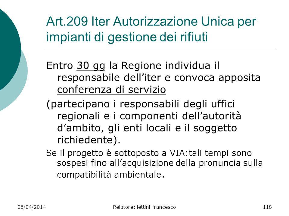 Art.209 Iter Autorizzazione Unica per impianti di gestione dei rifiuti