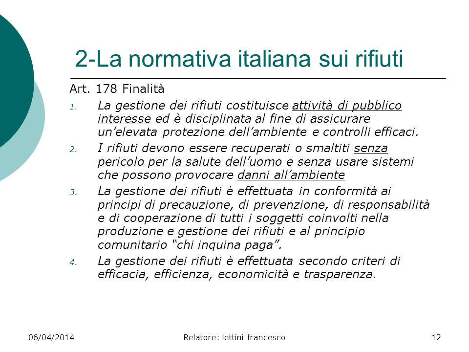 2-La normativa italiana sui rifiuti