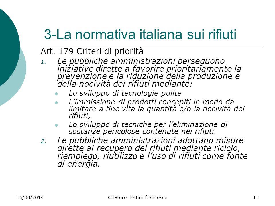 3-La normativa italiana sui rifiuti