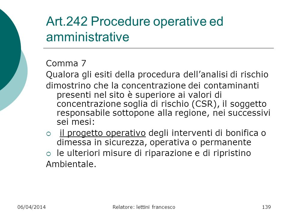 Art.242 Procedure operative ed amministrative