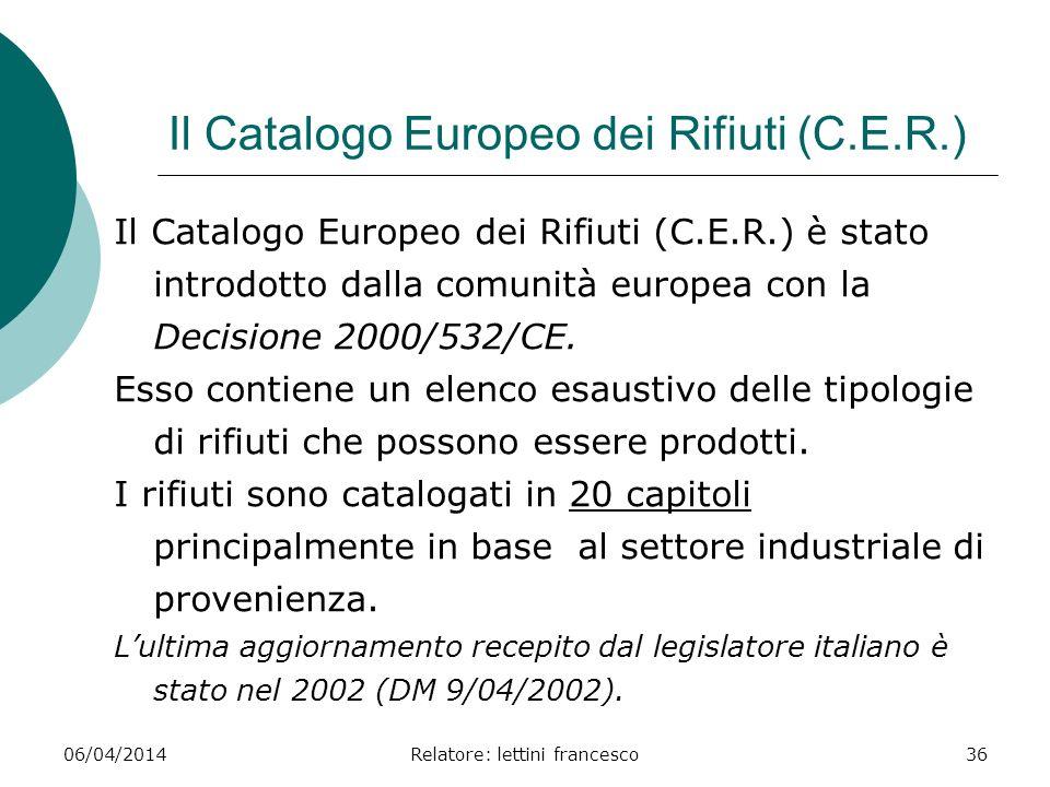 Il Catalogo Europeo dei Rifiuti (C.E.R.)