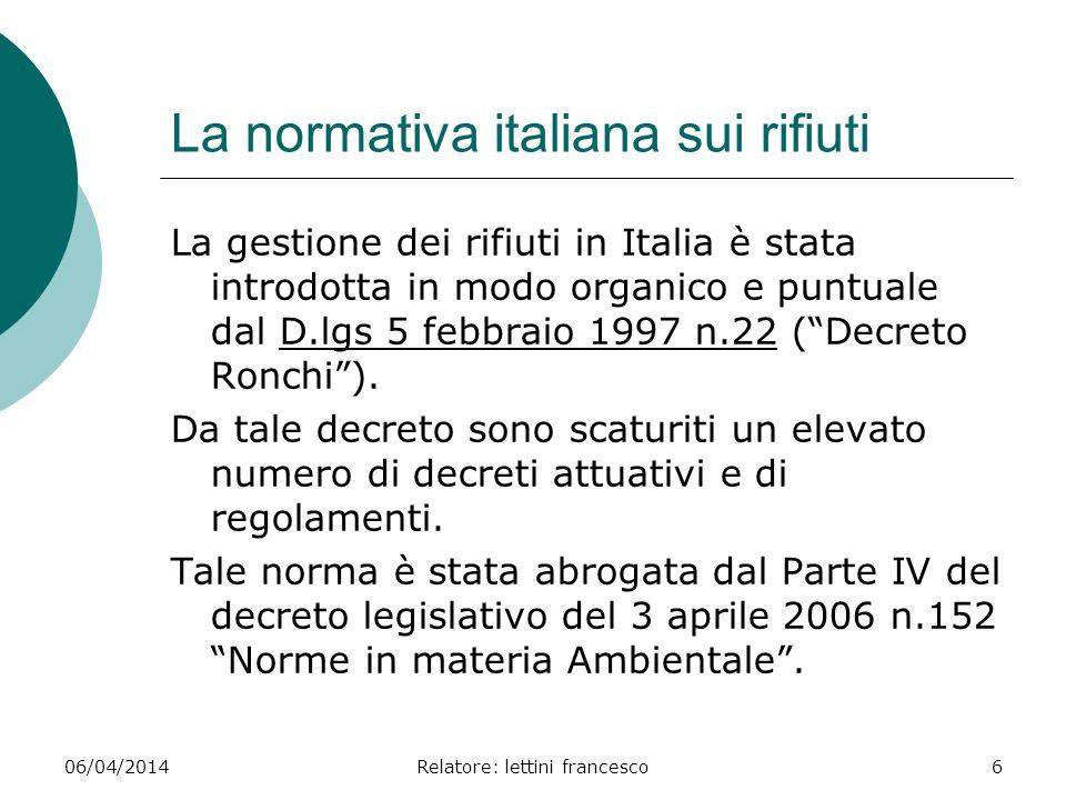 La normativa italiana sui rifiuti