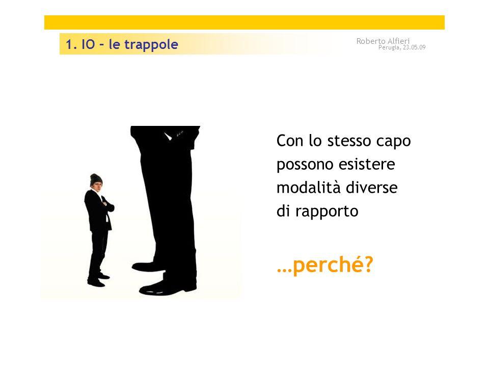 1. IO – le trappole Roberto Alfieri. Perugia, 23.05.09. Con lo stesso capo possono esistere modalità diverse di rapporto.