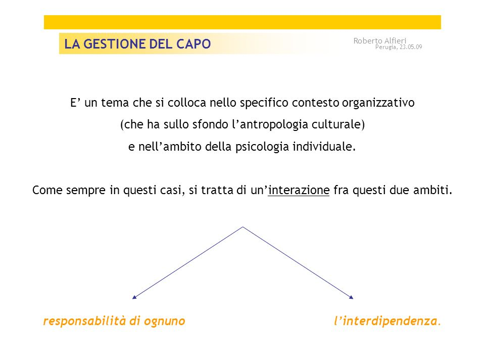 LA GESTIONE DEL CAPO Roberto Alfieri. Perugia, 23.05.09. E' un tema che si colloca nello specifico contesto organizzativo.
