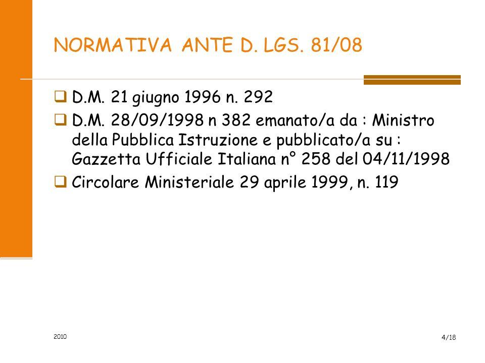 NORMATIVA ANTE D. LGS. 81/08 D.M. 21 giugno 1996 n. 292
