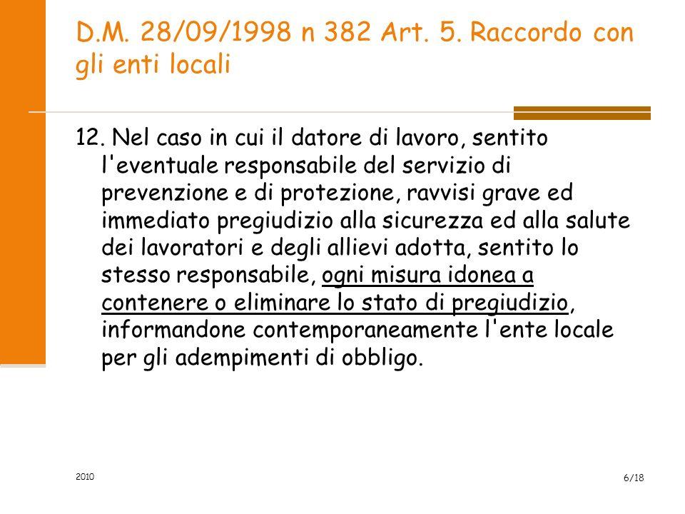 D.M. 28/09/1998 n 382 Art. 5. Raccordo con gli enti locali