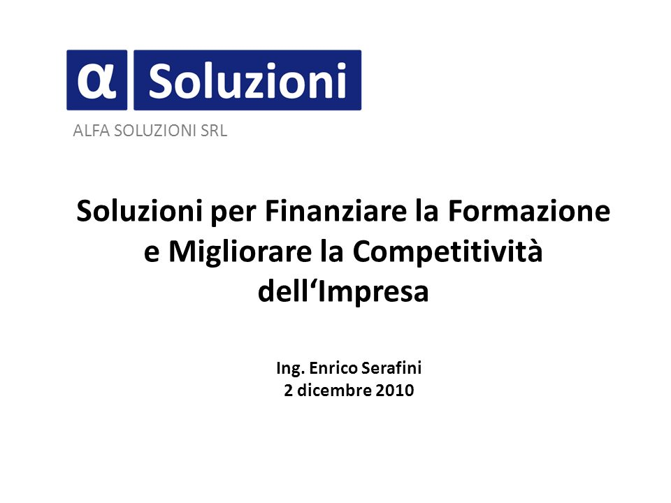 Ing. Enrico Serafini 2 dicembre 2010
