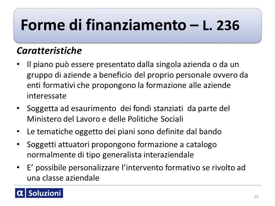 Forme di finanziamento – L. 236