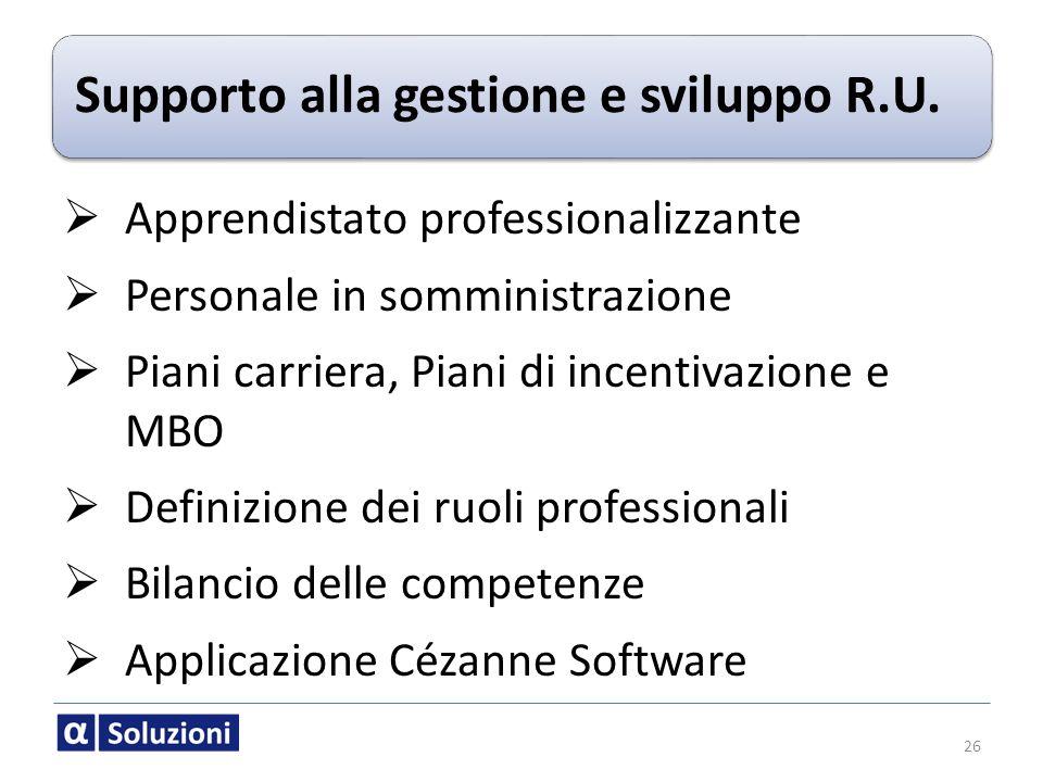 Supporto alla gestione e sviluppo R.U.