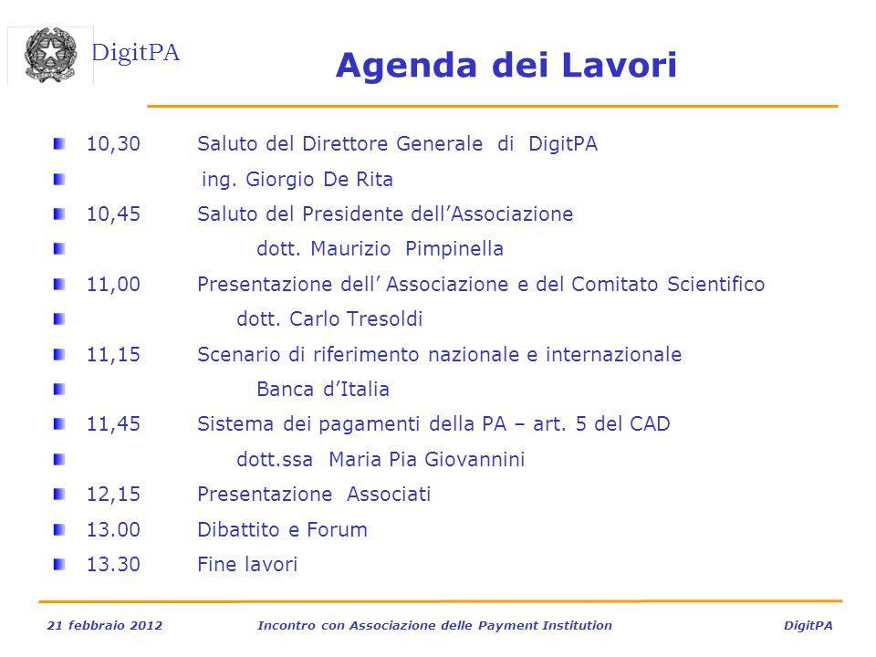 Agenda dei Lavori 10,30 Saluto del Direttore Generale di DigitPA