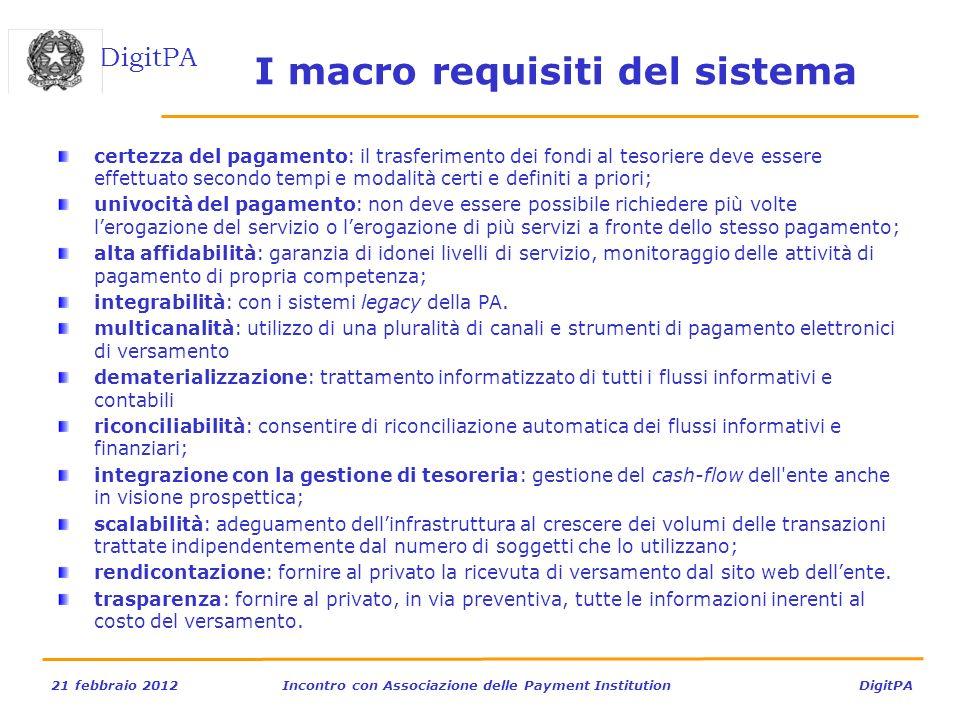 I macro requisiti del sistema