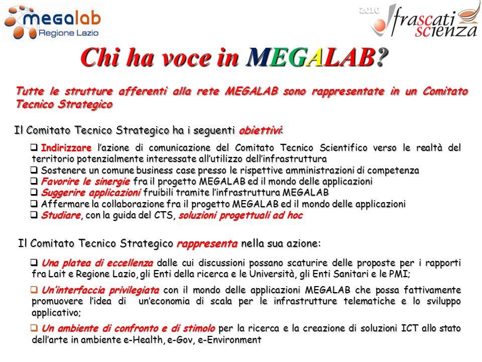 2010 Chi ha voce in MEGALAB Tutte le strutture afferenti alla rete MEGALAB sono rappresentate in un Comitato Tecnico Strategico.