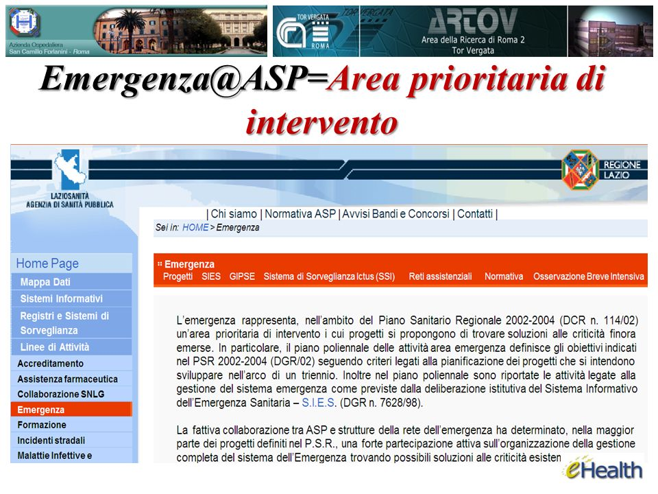 Emergenza@ASP=Area prioritaria di intervento