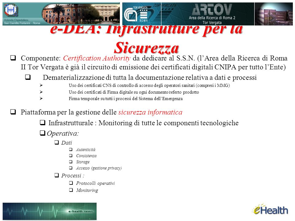 e-DEA: Infrastrutture per la Sicurezza