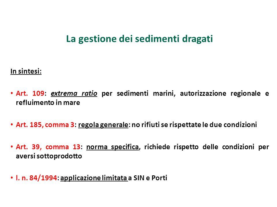La gestione dei sedimenti dragati