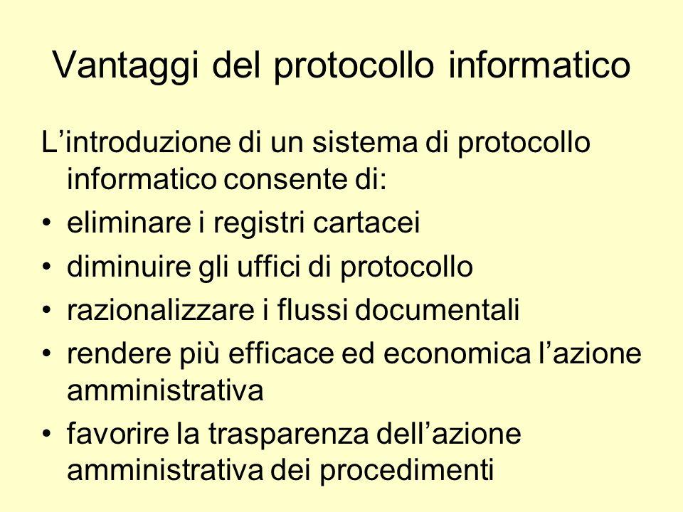 Vantaggi del protocollo informatico