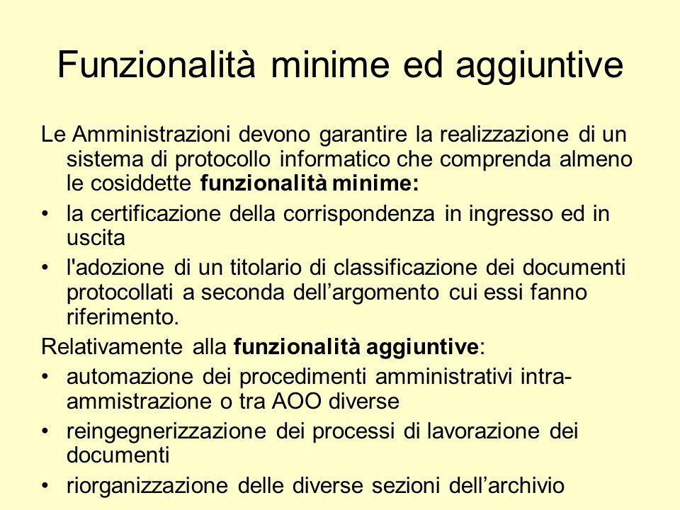 Funzionalità minime ed aggiuntive