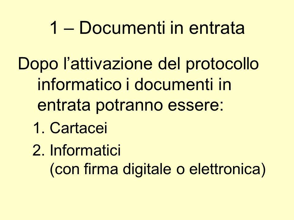 1 – Documenti in entrata Dopo l'attivazione del protocollo informatico i documenti in entrata potranno essere: