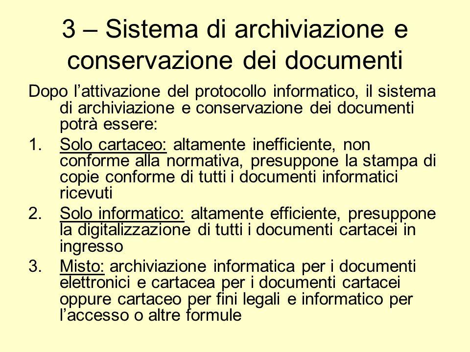 3 – Sistema di archiviazione e conservazione dei documenti