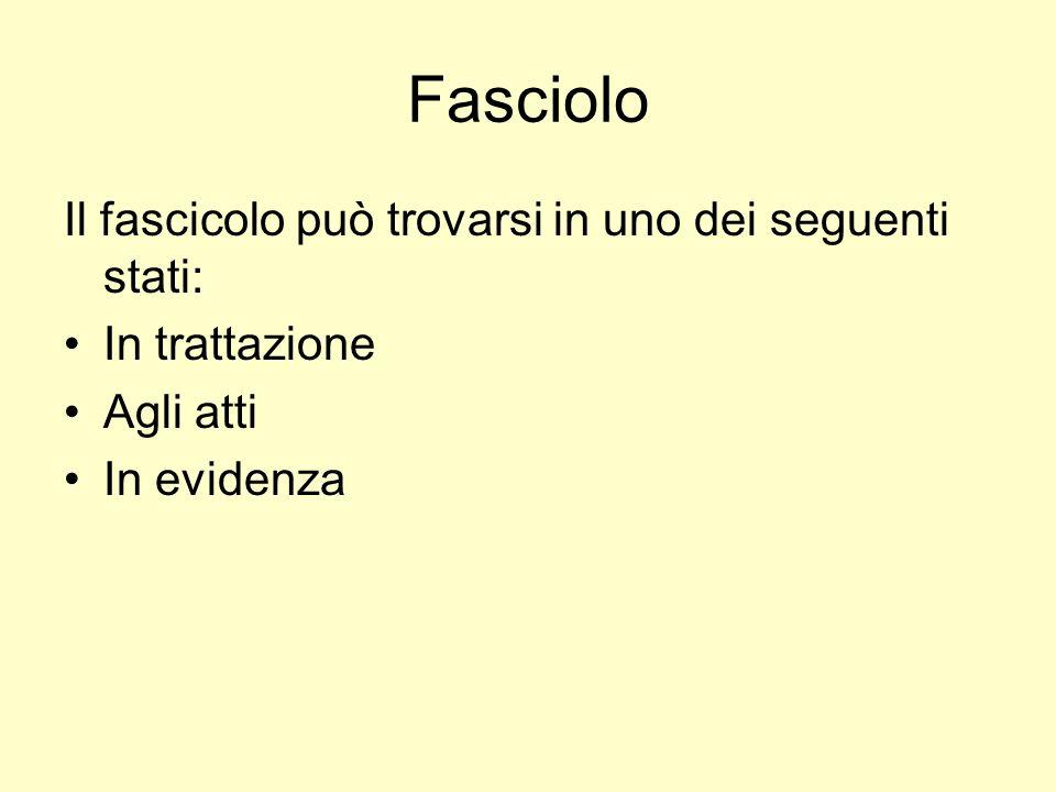 Fasciolo Il fascicolo può trovarsi in uno dei seguenti stati: