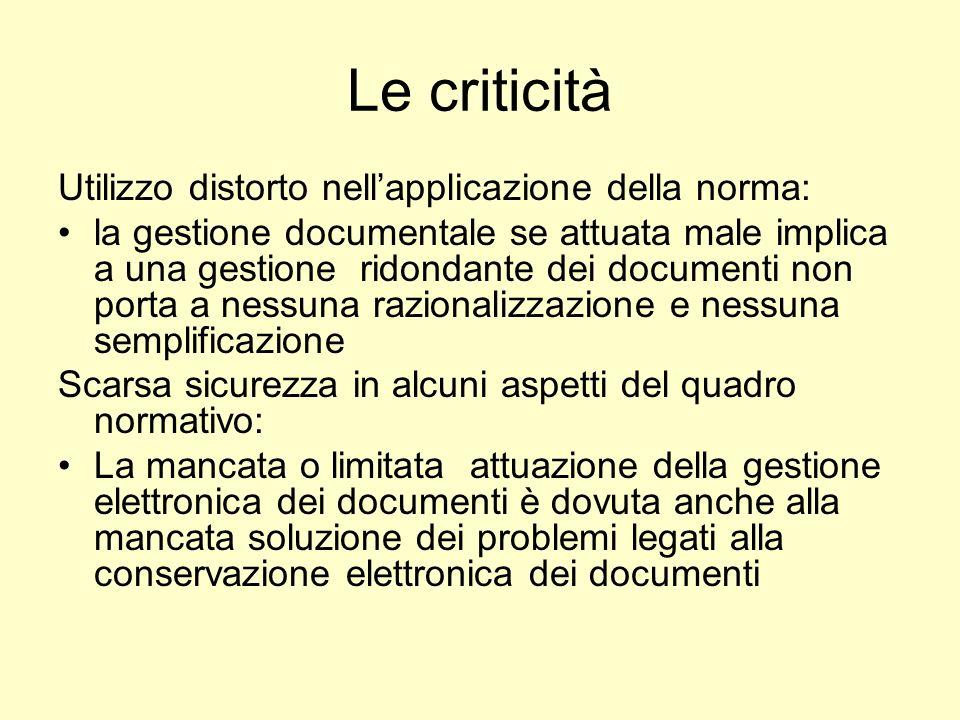 Le criticità Utilizzo distorto nell'applicazione della norma: