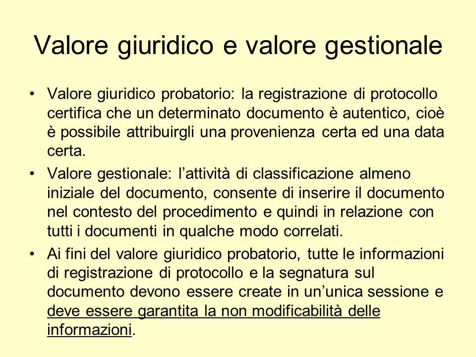 Valore giuridico e valore gestionale