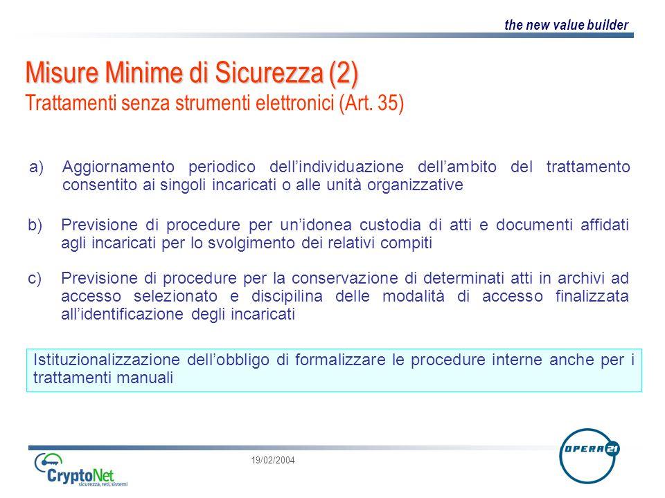 Misure Minime di Sicurezza (2) Trattamenti senza strumenti elettronici (Art. 35)