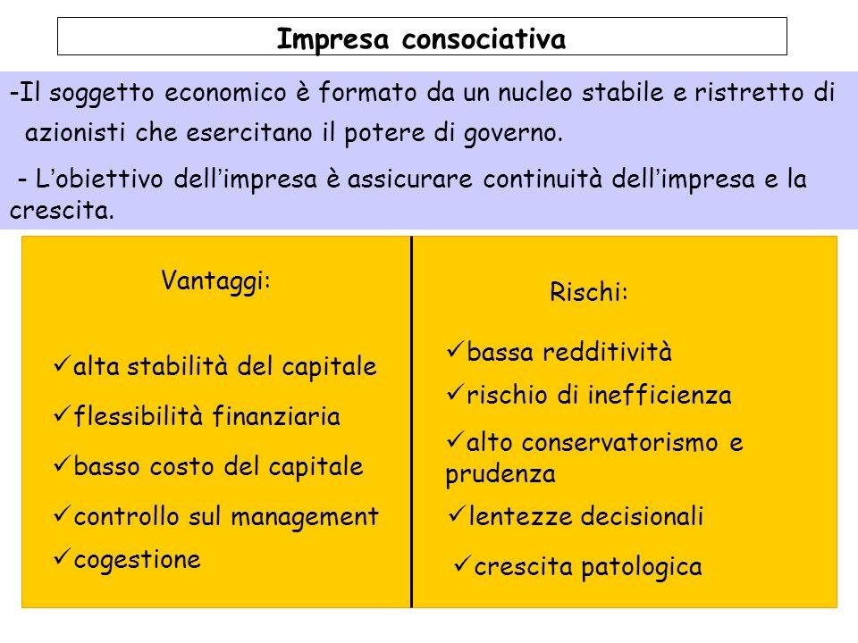 Impresa consociativa Il soggetto economico è formato da un nucleo stabile e ristretto di. azionisti che esercitano il potere di governo.