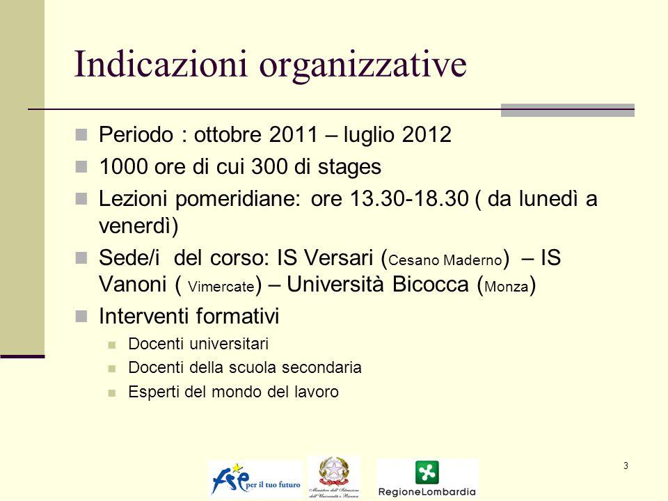 Indicazioni organizzative