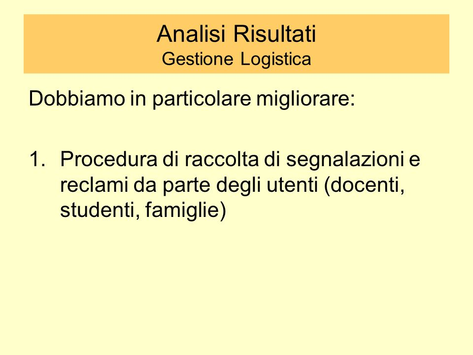 Analisi Risultati Gestione Logistica