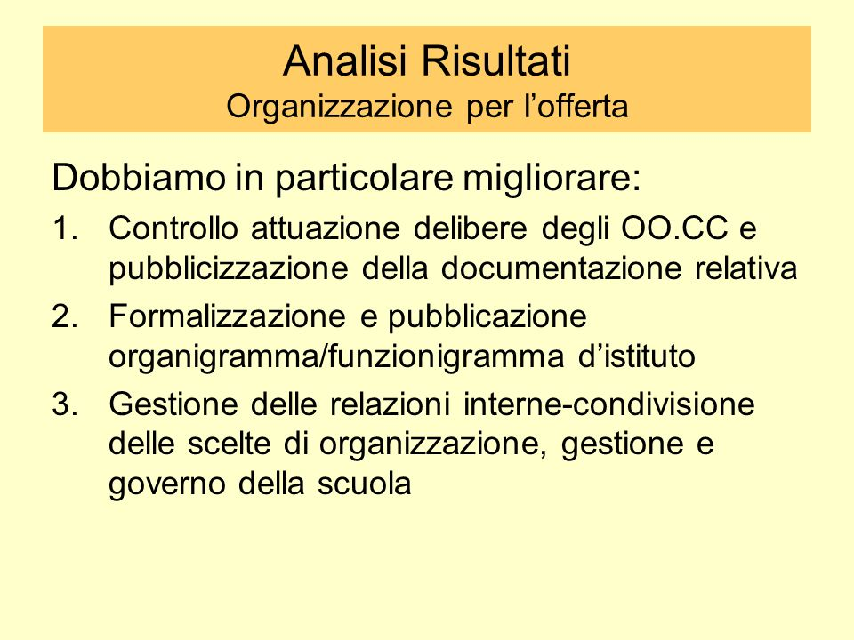 Analisi Risultati Organizzazione per l'offerta