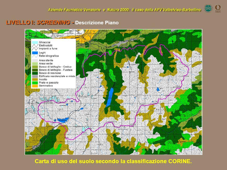 Carta di uso del suolo secondo la classificazione CORINE.
