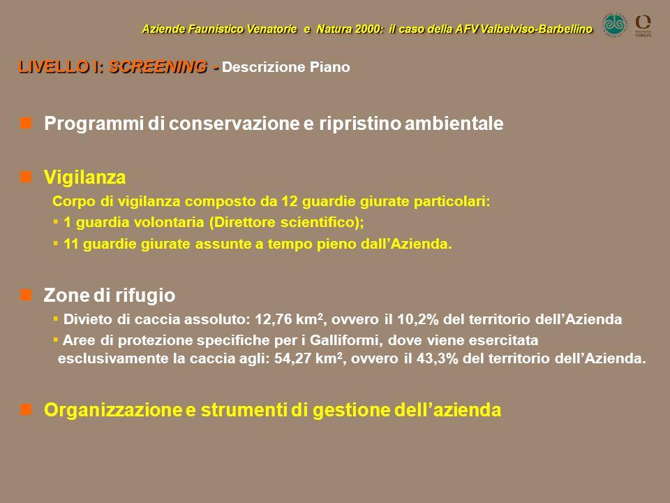 Programmi di conservazione e ripristino ambientale Vigilanza