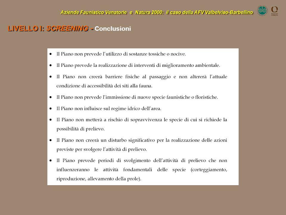 LIVELLO I: SCREENING - Conclusioni
