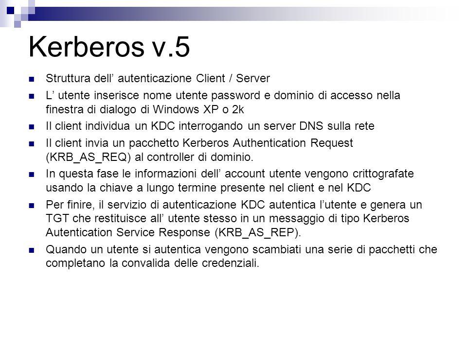 Kerberos v.5 Struttura dell' autenticazione Client / Server