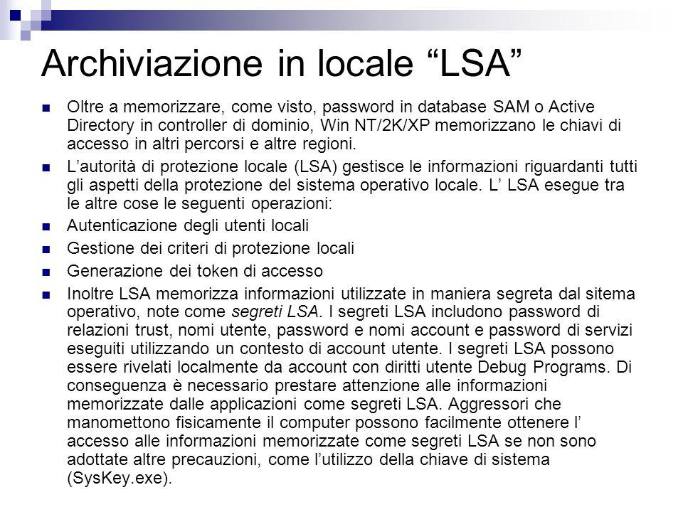 Archiviazione in locale LSA