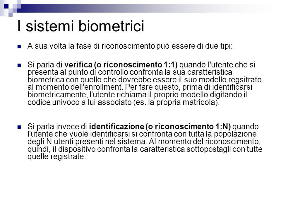 I sistemi biometrici A sua volta la fase di riconoscimento può essere di due tipi: