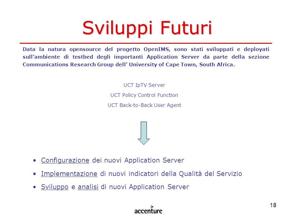 Sviluppi Futuri Configurazione dei nuovi Application Server