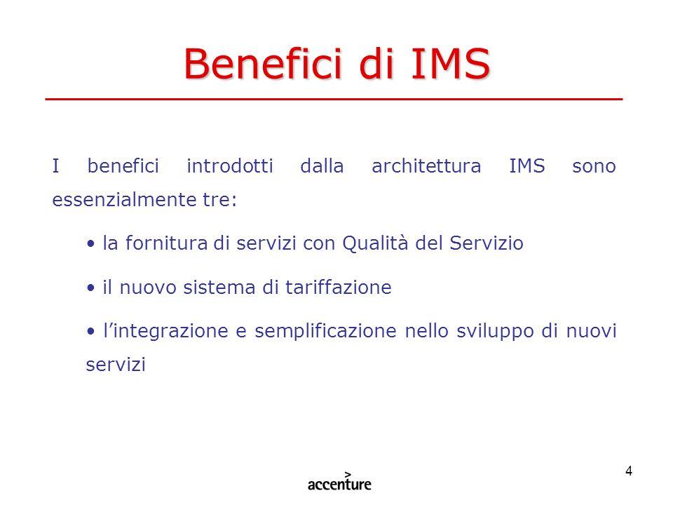 Benefici di IMS I benefici introdotti dalla architettura IMS sono essenzialmente tre: la fornitura di servizi con Qualità del Servizio.