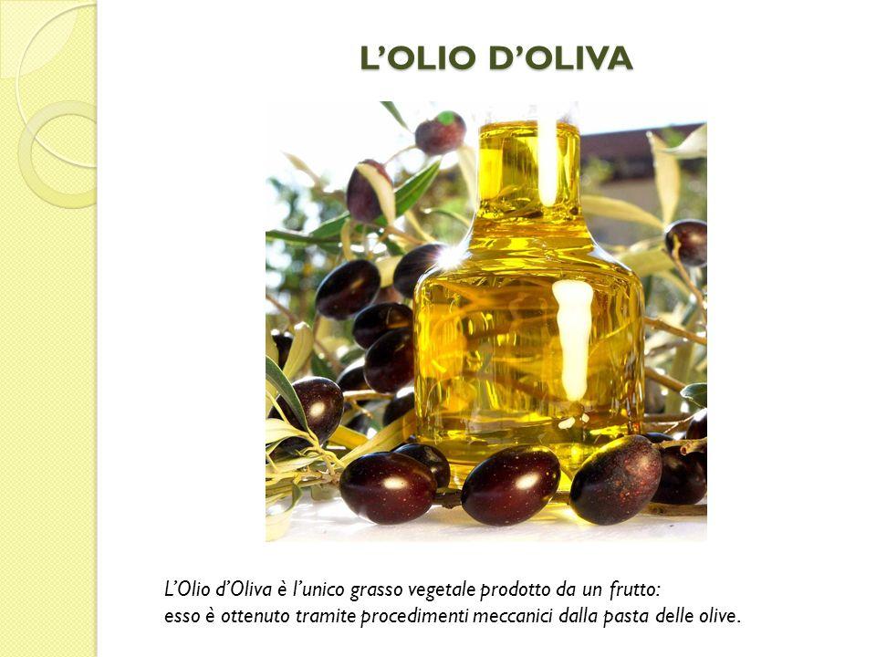 L'OLIO D'OLIVA L'Olio d'Oliva è l'unico grasso vegetale prodotto da un frutto: