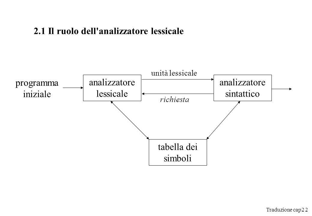 2.1 Il ruolo dell analizzatore lessicale