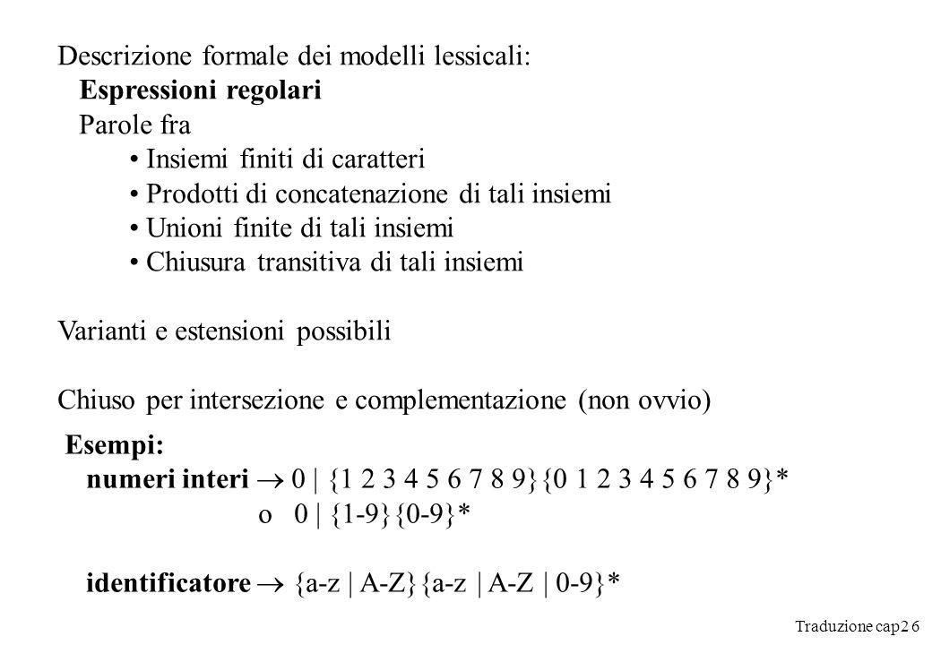 Descrizione formale dei modelli lessicali: