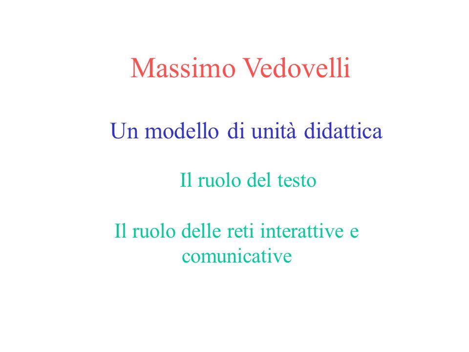 Massimo Vedovelli Un modello di unità didattica Il ruolo del testo