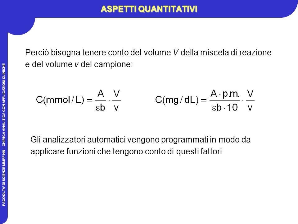 ASPETTI QUANTITATIVI Perciò bisogna tenere conto del volume V della miscela di reazione e del volume v del campione: