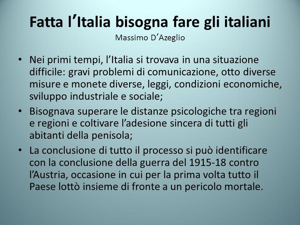 Fatta l'Italia bisogna fare gli italiani Massimo D'Azeglio
