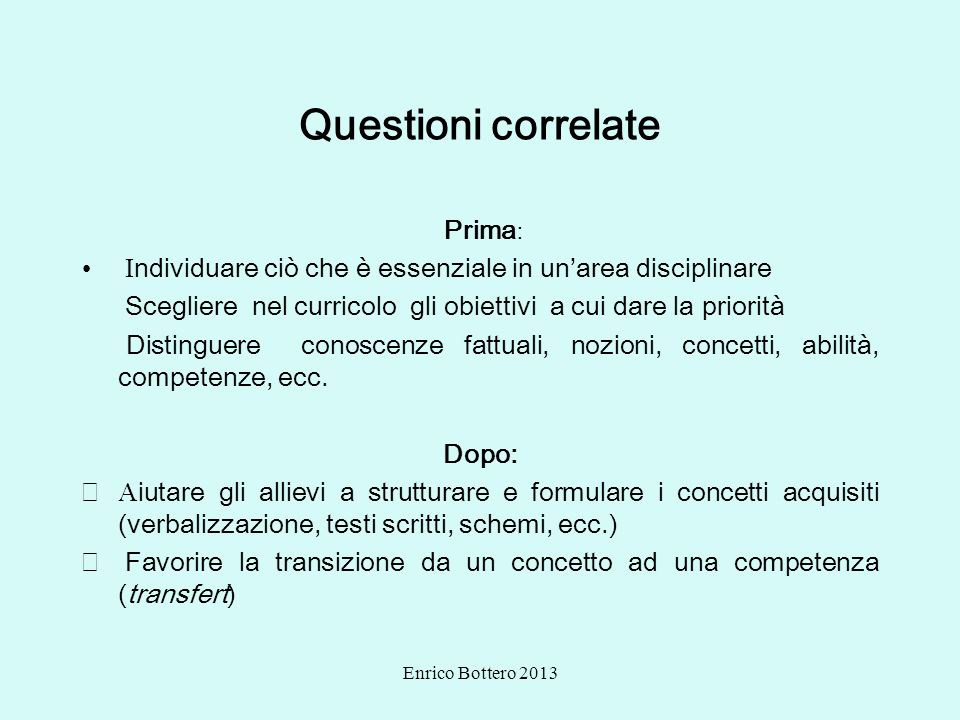 Questioni correlate Prima: