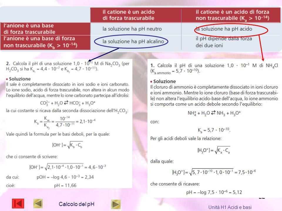 Calcolo del pH Unità H1 Acidi e basi