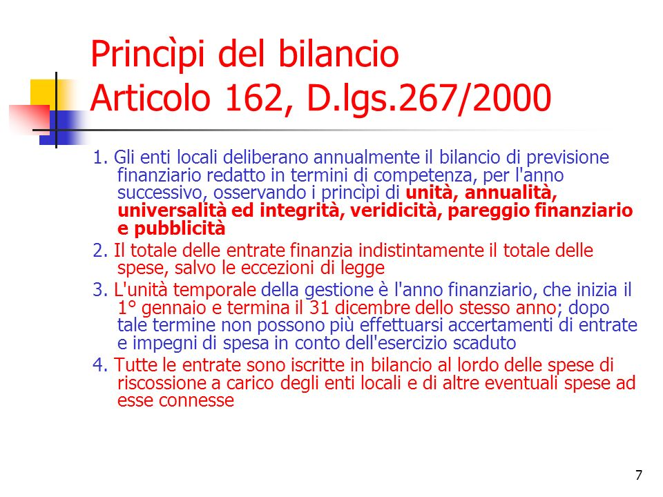 Princìpi del bilancio Articolo 162, D.lgs.267/2000