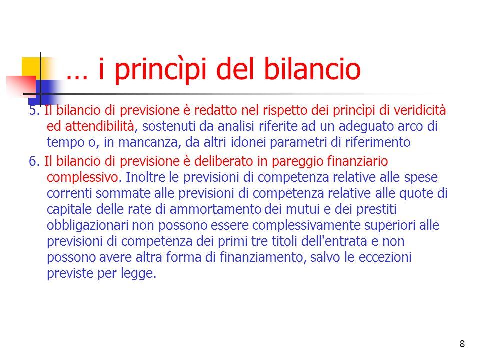 … i princìpi del bilancio